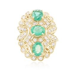 14KT Yellow Gold 3.69 ctw Emerald and Diamond Ring