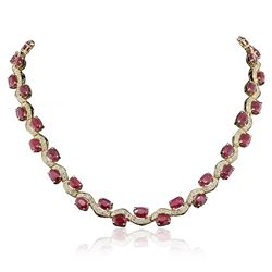 14KT Yellow Gold 44.29 ctw Ruby and Diamond Necklace