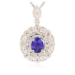 14KT White Gold 4.80 ctw Tanzanite and Diamond Pendant With Chain