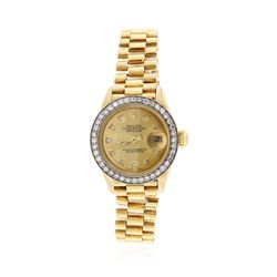Ladies Rolex President 18KT Yellow Gold & Diamond DateJust Wristwatch