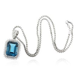 14KT White Gold 25.61 ctw Topaz and Diamond Pendant With Chain