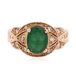 14KT Rose Gold 2.08 ctw Emerald and Diamond Ring