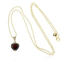 14KT Yellow Gold 2.19 ctw Garnet and Diamond Pendant With Chain