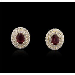 14KT Yellow Gold 1.84 ctw Ruby and Diamond Earrings