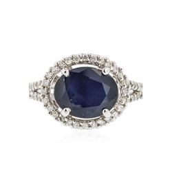 14KT White Gold 4.65 ctw Sapphire and Diamond Ring