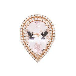 14KT Rose Gold 13.01 ctw Morganite and Diamond Ring