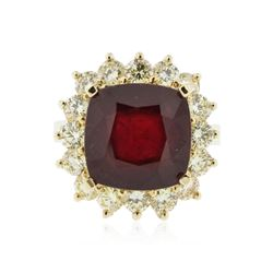 14KT Yellow Gold 9.79 ctw Ruby and Diamond Ring