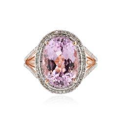 14KT Rose Gold 7.76 ctw Kunzite and Diamond Ring