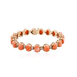14KT Rose Gold 16.91 ctw Coral and Diamond Bracelet