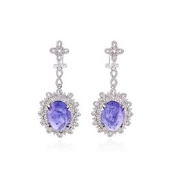 14KT White Gold 24.75 ctw Tanzanite and Diamond Earrings