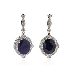 14KT White Gold 15.46 ctw Sapphire and Diamond Earrings