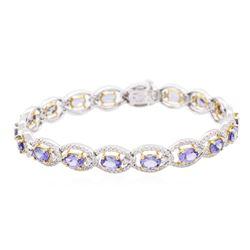 14KT Two-Tone Gold 9.00 ctw Tanzanite and Diamond Bracelet