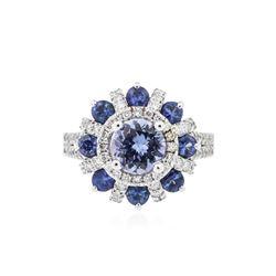 14KT White Gold 1.43 ctw Tanzanite, Sapphire and Diamond Ring