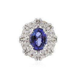 18KT White Gold 8.04 ctw Tanzanite and Diamond Ring
