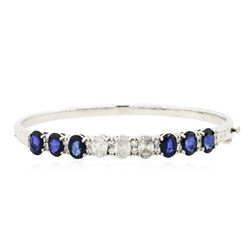 14KT White Gold 5.76 ctw Sapphire and Diamond Bracelet
