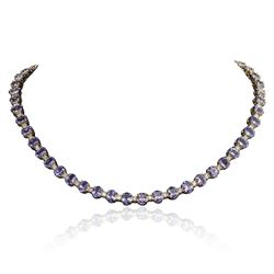 14KT Yellow Gold 38.71 ctw Tanzanite and Diamond Necklace