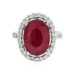 18KT White Gold 6.05 ctw Ruby and Diamond Ring