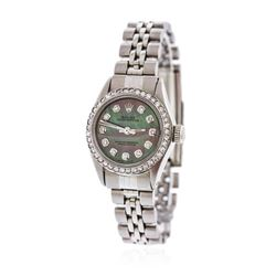 Ladies Rolex Stainless Steel Diamond Oyster Perpetual Wristwatch