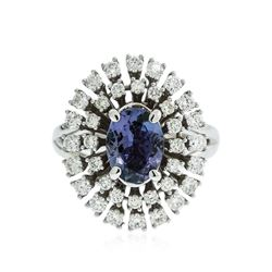 14KT White Gold 1.78 ctw Tanzanite and Diamond Ring