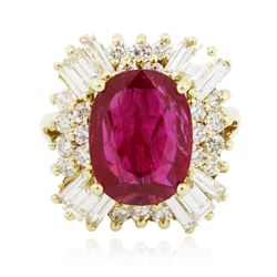 18KT Yellow Gold 3.62 ctw Ruby and Diamond Ring