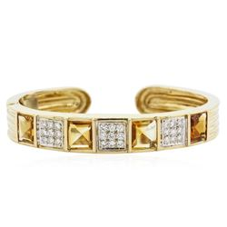 14KT Yellow Gold 10.16 ctw Citrine and Diamond Bracelet