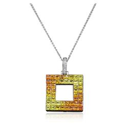 14KT White Gold 4.63 ctw Yellow Sapphire and Diamond Pendant With Chain