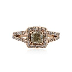 14KT Rose Gold 1.33 ctw Fancy Green Diamond Ring