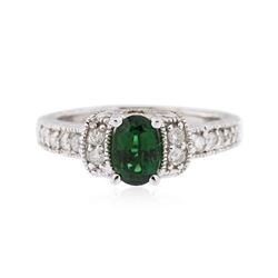 14KT White Gold 0.76 ctw Tsavorite and Diamond Ring