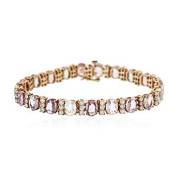 14KT Rose Gold 19.11 ctw Multi-Color Sapphire and Diamond Bracelet