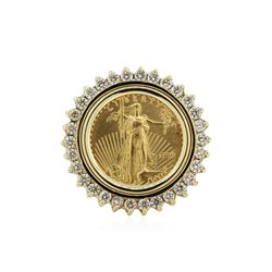 14KT Yellow Gold 0.37 ctw Diamond Coin Ring