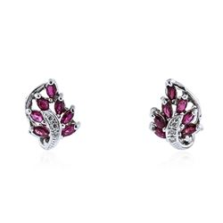 14KT White Gold 0.80 ctw Ruby and Diamond Earrings