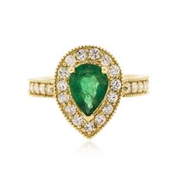 14KT Yellow Gold 1.34 ctw Emerald and Diamond Ring