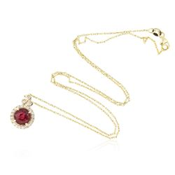 14KT Yellow Gold 2.12 ctw Rubellite and Diamond Pendant With Chain