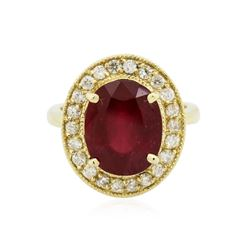 14KT Yellow Gold 6.94 ctw Ruby and Diamond Ring
