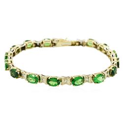 14KT Yellow Gold 10.05 ctw Tsavorite and Diamond Bracelet