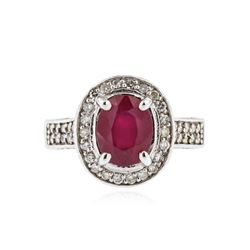 14KT White Gold 2.95 ctw Ruby and Diamond Ring