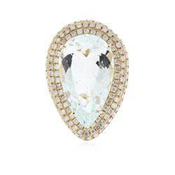 14KT Yellow Gold 15.52 ctw Aquamarine and Diamond Ring