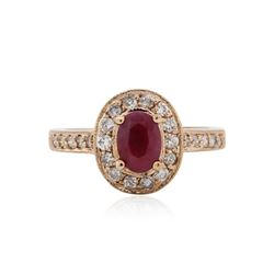 14KT Rose Gold 0.78 ctw Ruby and Diamond Ring