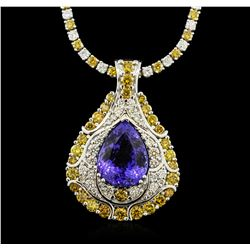 14KT White Gold GIA Certified 16.56 ctw Tanzanite and Diamond Pendant With Chain