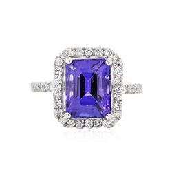 14KT White Gold 5.08 ctw Tanzanite and Diamond Ring