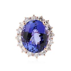 14KT Rose Gold 14.31 ctw Tanzanite and Diamond Ring