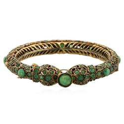 10KT Yellow Gold 17.79 ctw Emerald Bangle Bracelet