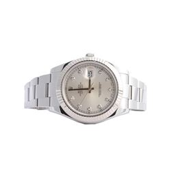 Gents Rolex Stainless Steel Diamond DateJust II Wristwatch