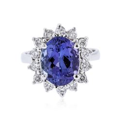 14KT White Gold 3.67 ctw Tanzanite and Diamond Ring