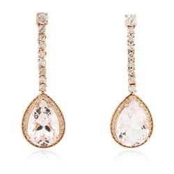14KT Rose Gold 10.66 ctw Morganite and Diamond Earrings