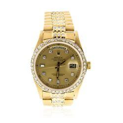 Gents Rolex 18KT Gold 4.40 ctw Diamond Super President Style Wristwatch
