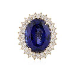 14KT Yellow Gold 21.26 ctw Tanzanite and Diamond Ring