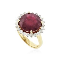 14KT Yellow Gold 11.21 ctw Ruby and Diamond Ring
