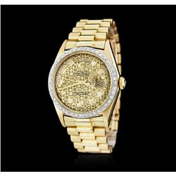 Gents Rolex DayDate 18KT Yellow Gold 0.56 ctw Diamond Wristwatch