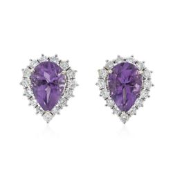 14KT White Gold 2.40 ctw Amethyst and Diamond Earrings